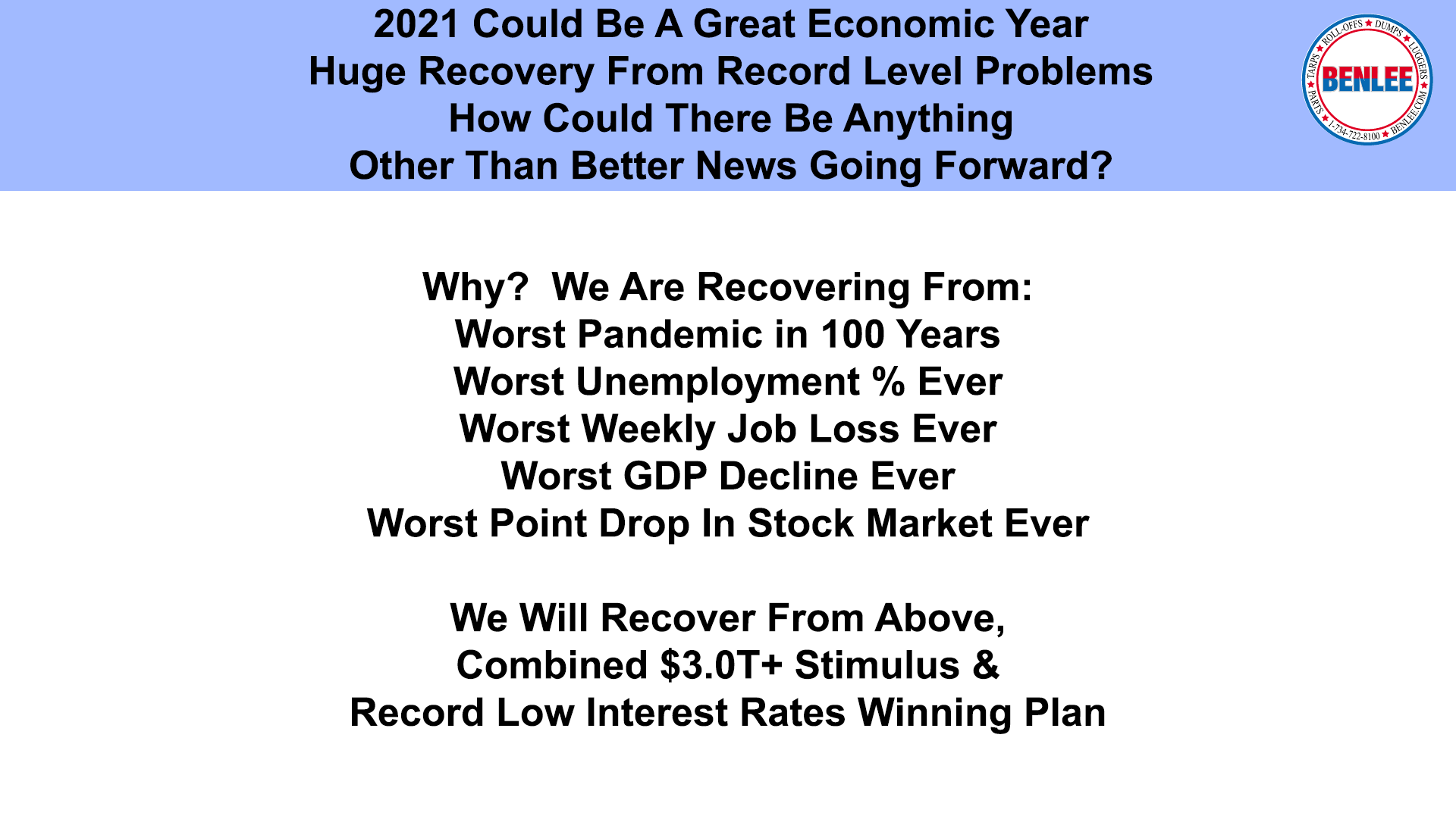 2021 Could Be A Great Economic Year